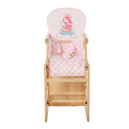 en Bois Pliable Multifonction Chaise Haute, Ergonomique Chaise de bébé avec Ceinture et Coussin, Poids de roulement 30kg