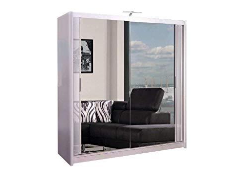 Armario de 2 o 3 puertas correderas con espejo con luz LED, 90 cm, 120 cm, 150 cm, 180 cm, 203 cm, 250 cm, color blanco, negro, gris, nogal y roble moderno 120 cm blanco