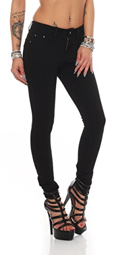 miss anna Treggings Jeggings Hüfthose Stretch Slimfit Leggings Hose Gr. XS S M L XL 2XL 3XL 4XL, H35 Schwarz M/38