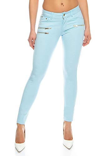 Crazy Age Damenhose Jegging Legging Zipper stylisch H086 (38, Hellblau)