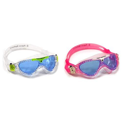 Aqua Sphere Aquasphere Vista Maske-Schwimmen Mehrfarbig (Blau/Grün) MS174122 Schwimmbrille Vista Kinder Taucherbrille Blaue Gläser,Rosa/Weiß
