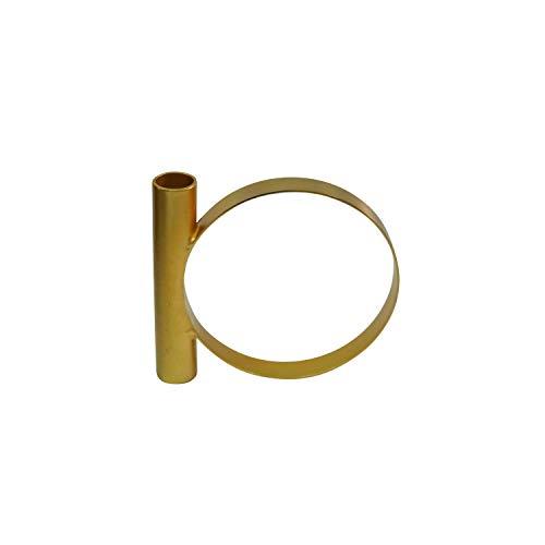 LaLe Living Kandelaar - Geo2 - van ijzer in mat goud, 15x13cm, geschikt voor een staafkaars als decoratie in elke kamer en op elke tafel of als scandic bruiloftsdecoratie