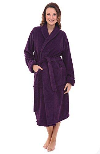 Alexander Del Rossa Womens Turkish Terry Cloth Robe, Thick Bathrobe, Small Medium Purple (A0106PURMD)
