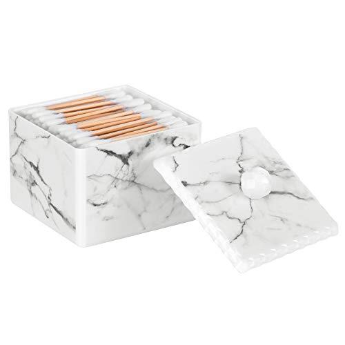 Luxspire Bomullspinne förvaringsbox med lock, Q-tip swab-hållare bomull boll behållare burk bomull knopp rund dispenser låda, kosmetika makeup bänk badrum organiserare behållare, marmor vit
