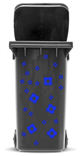 Domus House Signs Mülltonnen Aufkleber Set: Blüten - 23 Blütenaufkleber in Zwei Größen (4,5cm und 2,5cm) zum Dekorieren Ihrer Mülltonne oder Anderen glatten Oberfläche, Schriftfarbe:dunkelblau