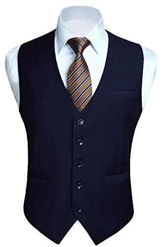HISDERN Gilet Blu navy da uomo in cotone solido con gilet da lavoro formale da uomo