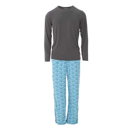 KICKEE Long Sleeve Men's Pajamas, Printed Pajama for Men, Signature Fabric PJ's for Dad, Comfortable Matching Top and Bottoms Sleepwear for Men (Blue Moon Hanukkah - XL)