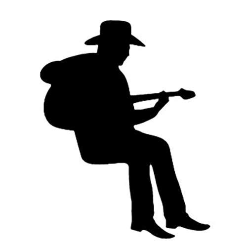 Gecheng Glaubwürdig Cowboy spielt Gitarre Silhouette Light Switch Sticker Cartoon Vinyl Music Wall Stickers Home Decor(None Black 8X10cm)