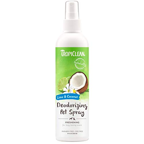 TropiClean Lime & Coconut Deodorizing Spray for Pets, 8oz - Made in USA - Helps Break Down Odors to...