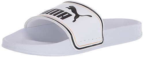 PUMA Leadcat Slide Sandal, White Team Gold Black, 5 M US