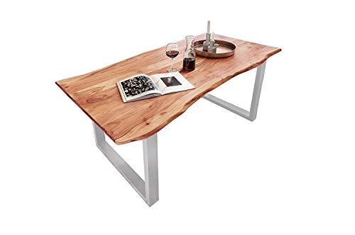 SAM Esszimmertisch 160x85 cm Quinn, echte Baumkante, naturfarben, massiver Esstisch aus Akazienholz, Metallbeine Silber, Baumkantentisch