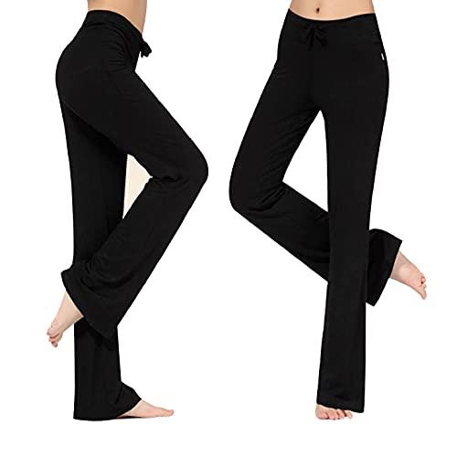 CMTOP Pantalones de Yoga Pilates para Mujer Modal Alta Cintura Elásticos Pierna Ancha Pantalones de Entrenamiento con cordón Casuales Chandal Deportivo para Yoga Jogger Fitness(Negro,L)
