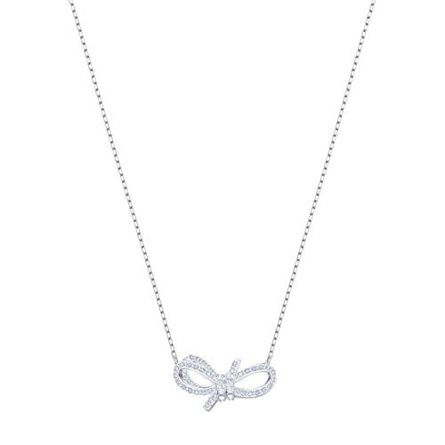 Swarovski Collana Lifelong Bow, Bianco, Placcatura Rodio