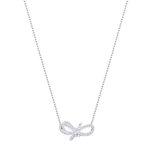 Swarovski Lifelong Bow Halskette, Weiss, Rhodiniert