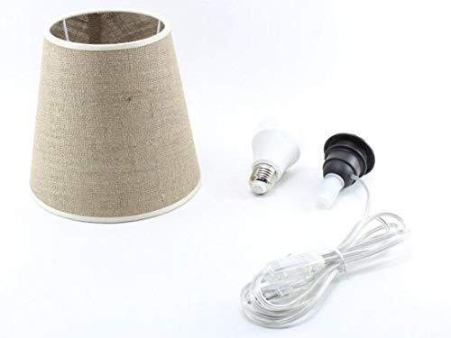 Kit Completo Paralume Juta Scura + Adattatore portalampada E27 con filo e interruttore trasparente - Lampada Led A+ in omaggio! Trasforma una bottiglia in lampada! Lampabottiglia.it