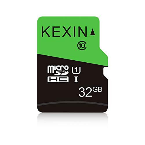 KEXIN Schede di Memoria MicroSDHC da 32GB, Velocità fino a 85 MB/sec Classe 10 UHS-1 Scheda MicroSD TF Scheda SD Card per Smartphone, Fotocamera, Sistema di Sicurezza (Nero Verde)
