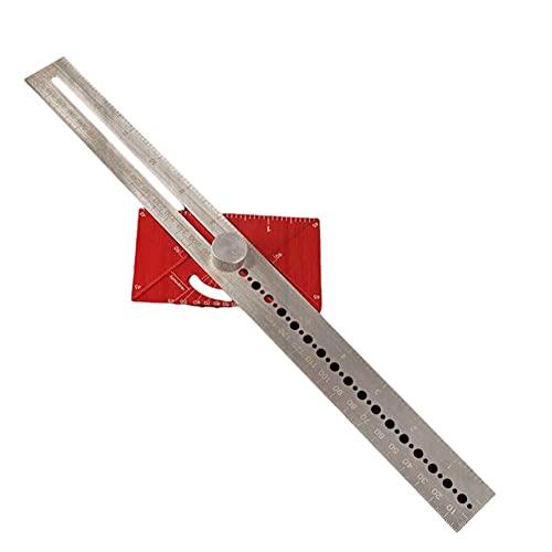 Publicación Regla de acero inoxidable T Hole Orificio Ruler Precision Marking T-reglamento Carpintero Herramienta de medición para herramienta de medición de carpintería