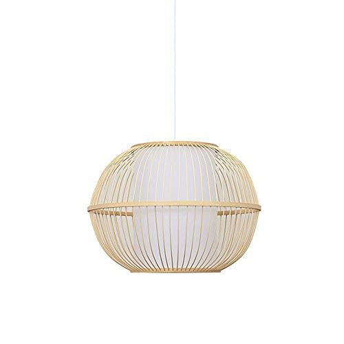 WEM Novedad Candelabro decorativo, candelabro redondo con forma de jaula de pájaros, hecho a mano, luz colgante de bambú, lámpara colgante de ratán, antigua casa de té japonesa, linterna de hotel, de