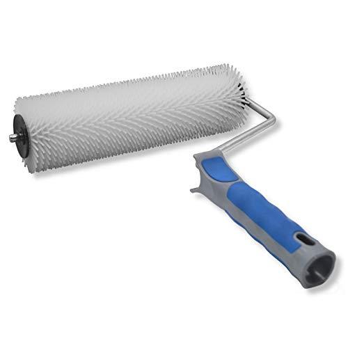 DEWEPRO Handstachelwalze - Stachelwalze - Hand-Igelwalze - Entlüfterrolle - b= 230mm, ø= 75mm, l (Stachel)= 14mm - Entlüftungsroller, Entlüftungswalze, Betonentlüfterrolle in Profi-Qualität