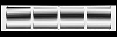 """24""""w X 4""""h Steel Return Air Grilles - Sidewall and Ceiling - HVAC Duct Cover - White [Outer Dimensions: 25.75""""w X 5.75""""h]"""
