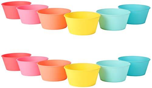 com-four® 12x Schalen-Set das Picknick-Zubehör in Regenbogen-Farben aus Kunststoff, Campinggeschirr, Reisegeschirr, platzsparend und hygienisch für 6 Paare oder 12 Personen (Schüssel - 12 Stück)