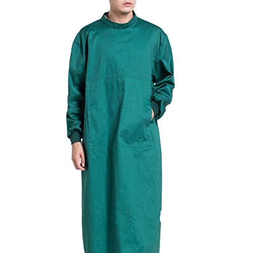Exceart Medizin Kleidung Schutzanzug Damen Herren OP Kleidung Isolation Anzug Overall Dunkelgrün Krankenhaus Labor Pflege Chirurgische Sicherheit Kleidung Größe M