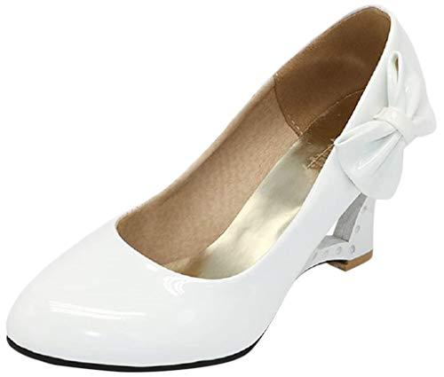 Pumps 4 Farben Weiß Creme Pink Schwarz Keil Hochzeit High Heels Schuhe Brautschuhe Braut Damenschuhe (38 wie (37), Weiß)