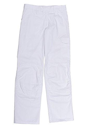 vetiwork Pantalon de Peintre Blanc - Ceinture réglable et Poches genouillère - Homme T2-42-44