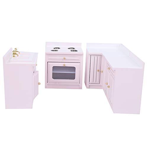 Qinlorgo 【 Mini bonita casa de madera para muebles de cocina, desmontable rosa para decorar los amantes de las casas de muñecas (armario de cocina)