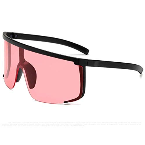 Oversized Shield Sunglasses, Shatterproof Anti Peeping & Glare Polarized Sports Sunglasses - Flat Top Gradient Mirror Lens Rimless Cycling Glasses (Red)