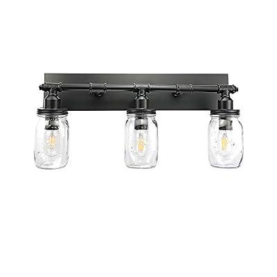 LMSOD 3 Lights Bathroom Wall Light Fixtures, Industrial 3 Mason Jar Vanity Light?Wall Sconce with Black Finish