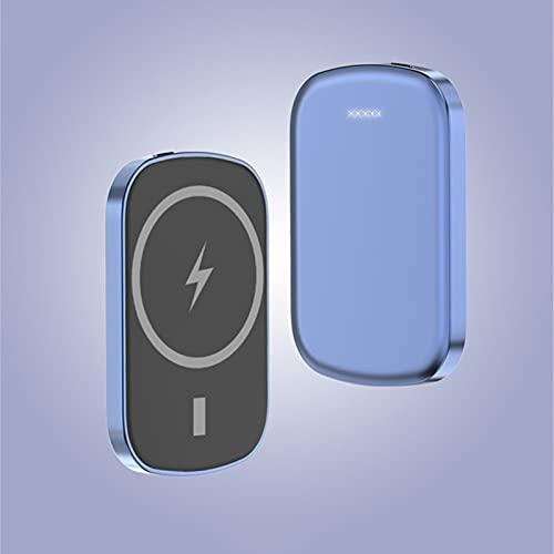 Banco de energía inalámbrico magnético de 15 W, 10000 mAh, batería externa de alta velocidad, cargador portátil, compatible con iPhone 12/12 Mini/Pro/Max (5000 mAh), color azul