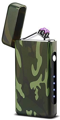 Tenfel 電子ライター USB 充電 アウトドア用 点火ライター 軽量 防風 ライター 電量表示
