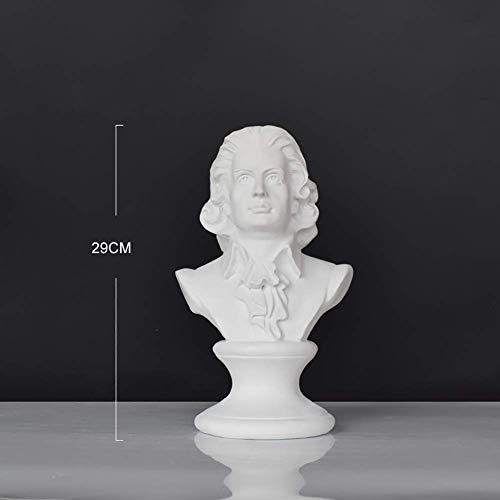 DYB Desktop-Wohnaccessoires für Menschen, die Musik mögen, Harzkopf-Statuen, Mozart-Büsten-Skulpturen, Klassische griechische SAMMLBARE Figuren B 29x17x12,5 cm (11x7x5inch) Gartendekoration im Freie