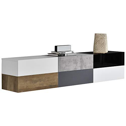Wandplank met lade-wit/zwart/Beton-Houtlook/wittte mat/grijs