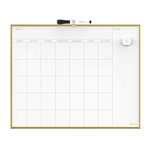 U Brands Magnetic Monthly Calendar Dry Erase Board, 20 x 16 Inches, Gold Aluminum Frame - 364U00-01