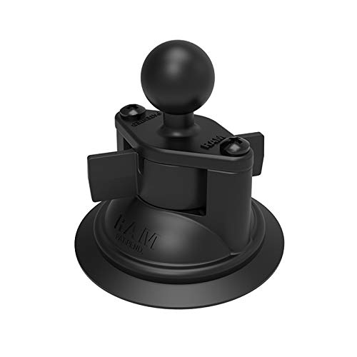 Motorcycle Ram Mount Small Suction Cup Base 1 Inch Ball - Black