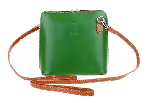 Girly Handbags Echtes Leder Umhängetasche Messenger Schultertasche italienisch Tasche (Grün Bräune)