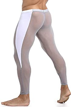 MIZOK Men s Mesh Yoga Pants See Through Compression Tights Workout Leggings Grey