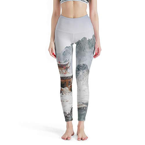 Dessionop High Waist Yoga Leggings for Women Vintage Japanese House Mountain Red Maple Tree Print Workout Leggings - White - XS