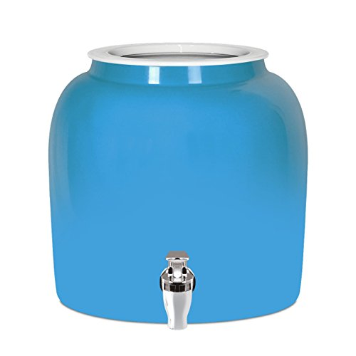 Brio Solid Porcelain Ceramic Water Dispenser Crock with Faucet - LEAD FREE (Baby Blue)