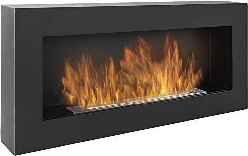 Bio chimenea negra Nice-House BOX 90x40cm. Biochimenea de bioetanol de pared 900x400 mm negro. Eco-chimenea en forma de caja para colgar en la pared. Chimenea de bioetanol sin vidrio.