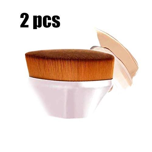2 pcs High-Density Seamless Magic Foundation Brush BB Cream Petal No Trace Makeup Brushes Loose Powder (Pink)