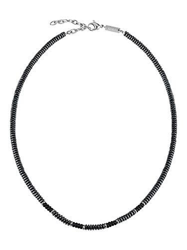 Breil- Collana da Uomo Collezione Blend - Gioielli Uomo - Collana Uomo con Pietre in Ematite e Acciaio - 52 cm