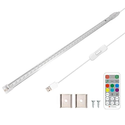 Control remoto de barra de luz de tira de LED RGB, lámpara de iluminación debajo del gabinete regulable multicolor, para habitación, armario, pasillo, luces de fondo de TV