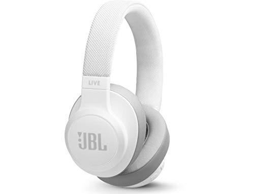 JBL LIVE 500BT - Auriculares Inalámbricos con Bluetooth, asistente de voz integrado, sonido Pure Bass con Tecnologías TalkThru y AmbientAware, hasta 30h de música, blanco