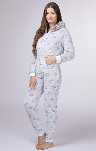 maluuna – Damen Fleece-Onesie mit Bündchen an Arm- und Beinabschluss, extrem Kuscheliger Damen Jumpsuit; Farbe:beige - 3