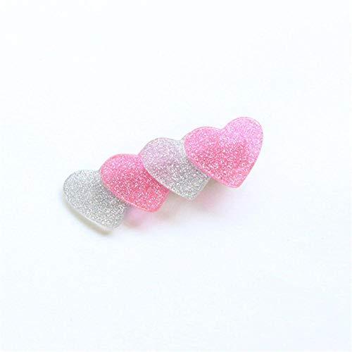 Mode Niedlich Japan Stil Giltter Bling Herzform Essigsäure Haarspangen Haarnadeln Mädchen Hairgrips Haarschmuck, Rosa