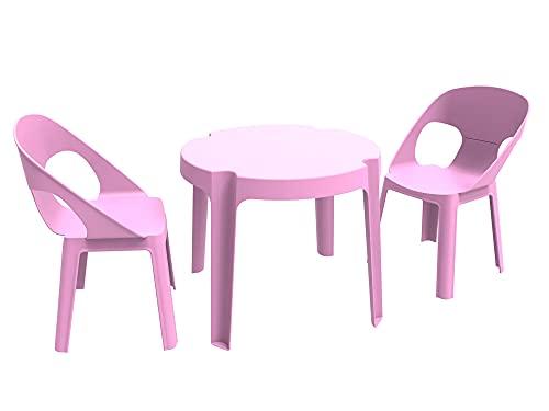 RESOL Rita Conjunto Mesa Infantil con Sillas   2 Sillas Niños y 1 Mesa de Plástico   Apilables y de Muy Fácil Limpieza y Mantenimiento   Set Rita - Color Rosa Oscuro