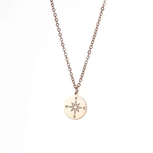 LIUL Collares con Colgante de círculo de brújula de Acero Inoxidable de 12 mm para Mujer, Collar de Viaje Vintage, joyería
